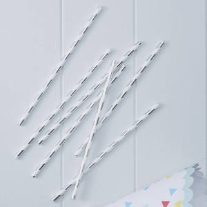 Pick & Mix Silver Metallic Straws (25)
