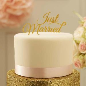 Pastel Perfection Just Married Cake Topper Gold