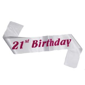 21st Birthday Sash White with Dark Pink