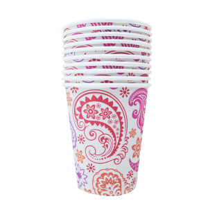 Paisley Patterned Paper Cups