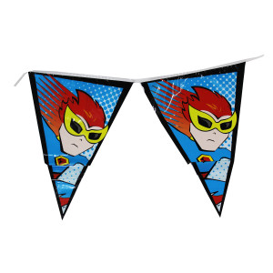 Little POW Superhero Plastic Flag Banner