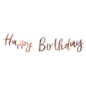 Happy Birthday Rose Gold Foiled Backdrop