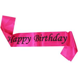 Happy Birthday Pink and Black Sash