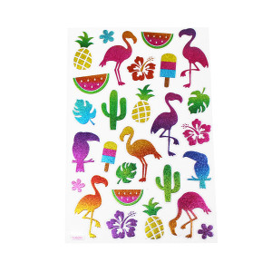 Tropical Flamingo Glitter Stickers