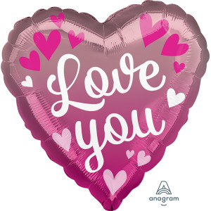 Love You Pink Ombre Foil Balloon