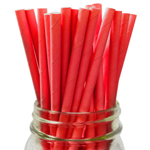 Solid Red Party Straws (25)