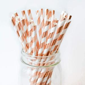 Rose Gold Striped Party Straws (25)