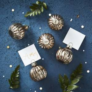Place Card Holder - Gold Baubles (6)