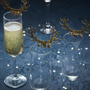 Gold Glass Antler Decorations (10)