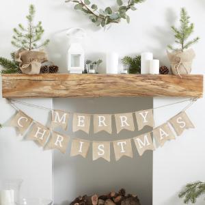 Rustic Christmas - Merry Christmas Hessian Bunting