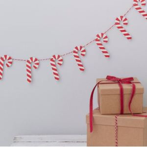 Santa & Friends - Candy Cane Wooden Bunting