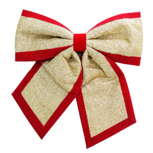 Sparkly Giant Gold Bow with Red Trim