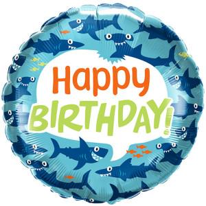 Fun Sharks Birthday Foil Balloon 18 inch