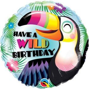 Toucan Wild Birthday 18 inch Foil Balloon