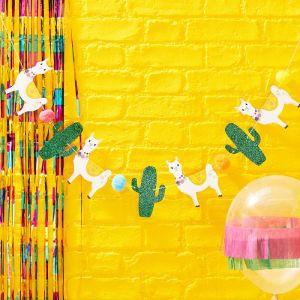 Viva La Fiesta Glitter Cactus and Llama Bunting