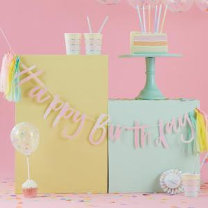 Pastel Party Happy Birthday Bunting with Tassels