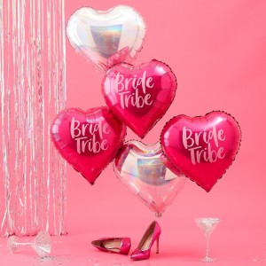 Bride Tribe Hot Pink & Iridescent Foil Balloons (5)