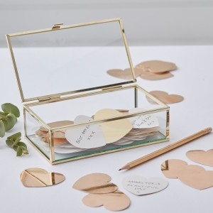 Gold Wedding Guest Box with Hearts