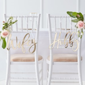 Gold Wedding Chair Signs (2)