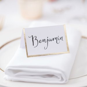 Gold Wedding Gold Foiled Border Place Cards (10)