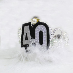 Silver Furry Tiara with Pearls 40th