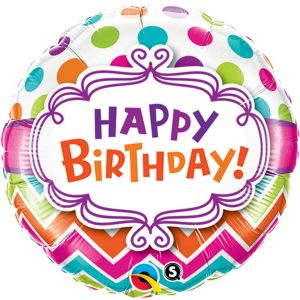 Chevron Dots Happy Birthday Foil Balloon 18 inch