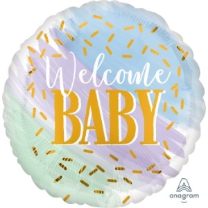Welcome Baby Watercolours Foil Balloon 18 inch