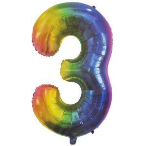 Rainbow Metallic Foil Balloon Number 3 (106cm)