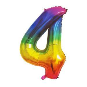 Rainbow Metallic Foil Balloon Number 4 (106cm)