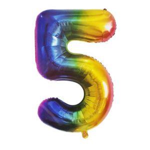 Rainbow Metallic Foil Balloon Number 5 (106cm)