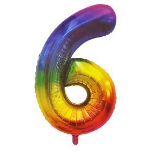 Rainbow Metallic Foil Balloon Number 6 (106cm)