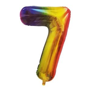 Rainbow Metallic Foil Balloon Number 7 (106cm)