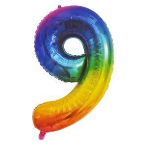Rainbow Metallic Foil Balloon Number 9 (106cm)