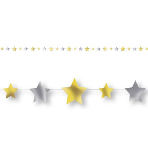 Twinkle Twinkle Little Star Garland Gold and Silver Stars