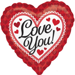 Love you Lace Border Heart Foil Balloon 18 Inch