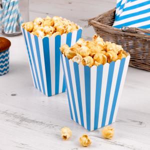 Blue Striped Popcorn Boxes (10) - 15cm x 10cm