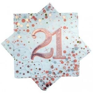 Rose Gold Sparkling Fizz Napkins 21st Birthday