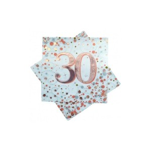 Rose Gold Sparkling Fizz Napkins 30th Birthday