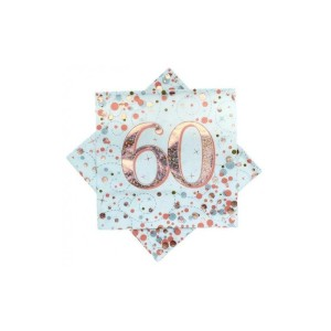 Rose Gold Sparkling Fizz Napkins 60th Birthday
