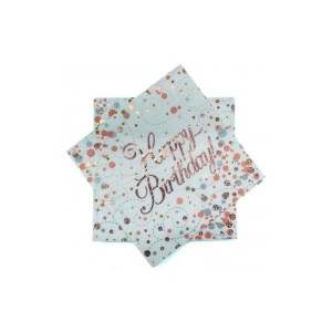 Rose Gold Sparkling Fizz Napkins Happy Birthday