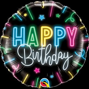 Happy Birthday Neon Glow Foil Balloon 18 Inch