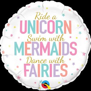 Unicorns, Mermaids and Fairies Foil Balloon 18 Inch