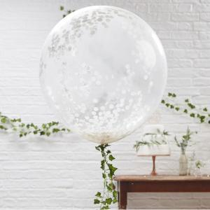 Beautiful Botanics Huge White Confetti Balloons (3)