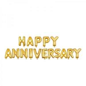 Happy Anniversary Gold Foil Letter Balloons 18 inch