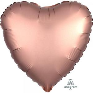 Satin Luxe Rose Copper Heart Foil Balloon 18inch