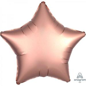 Satin Luxe Rose Copper Star Foil Balloon 18inch