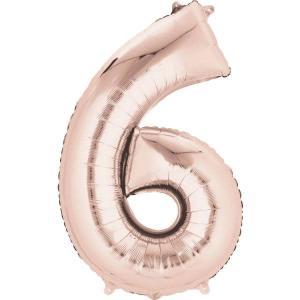 Rose Gold Supershape Foil Balloon Number 6 - 86cm
