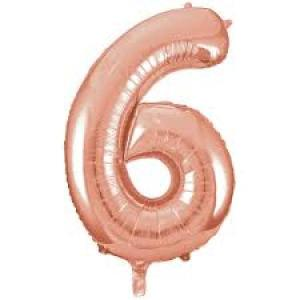 Rose Gold Metallic Foil Balloon Number 6-XXX