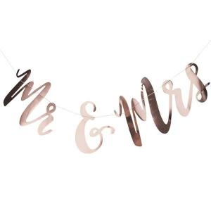 Beautiful Botanics Rose Gold Mr & Mrs  Backdrop
