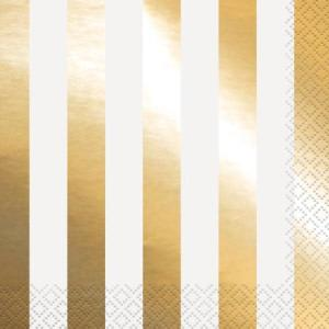 Gold Foil Striped Lunch Napkins (16)